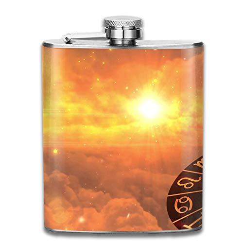 Nifdhkw Frasco de la Cadera de la constelación de Sun para el Alcohol 7oz de la Botella del Acero Inoxidable del Licor