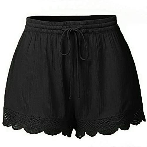 OverstepA Moda Donna Pizzo Plus Size Corda Tie Shorts Yoga Pantaloni Sportivi Leggings Pantaloni