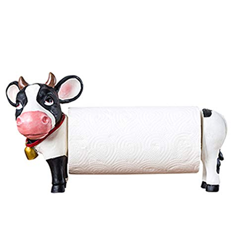 VOAOV Soporte Rollo Cocina De Resina Estilo De Dibujos Animados Vacas, Lindos Portarollos De Animales, Soporte Papel Cocina De Regalo, Decoraciones Interesantes Para Cocina, Sala De Estar, Baño,long