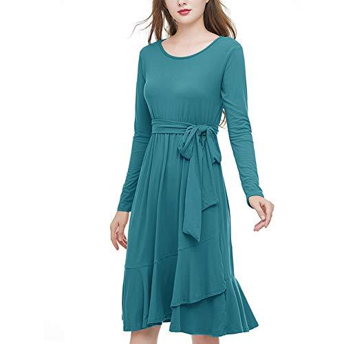 Women's Long Sleeve Dresses, Round Neck, Casual Midi Vintage Ruffle Plain Dress with Belt