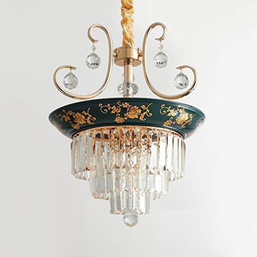 Preisvergleich Produktbild Z-W-DONG Kristall Keramik Kronleuchter,  Villa Garderobe Kronleuchter Blau Grün Beleuchtung Pendelleuchte E14 05.03 Heads Pendelleuchte Leuchte (Color : Green)