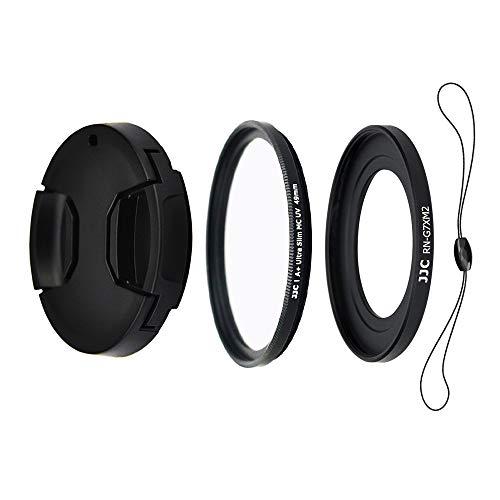 JJC Objektiv Zubehörset 4 Teilig für Canon Powershot G5X, G7X, G7X Mark II und G7X Mark III mit Objektivadapter, UV Filter, Objektivdeckel und Objektivdeckelhalter (49mm)