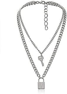 قفل مفتاح قلادة سلسلة طويلة الشرير متعدد الطبقات قلادة للنساء الرجال