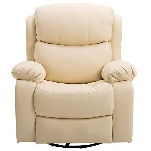 HOMCOM Poltrona Relax Massaggiante Riscaldante Reclinabile Ecopelle 94 × 103 × 100cm Beige