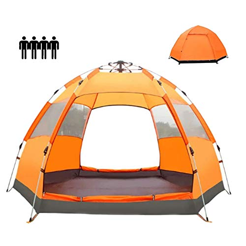 QYY Dome Tent 3-4 Person Lightweight Waterproof and Windproof Easy to Install, Double Layer Family Camping Tent Suitable for Travel, Camping and Other Outdoor SportsOrange