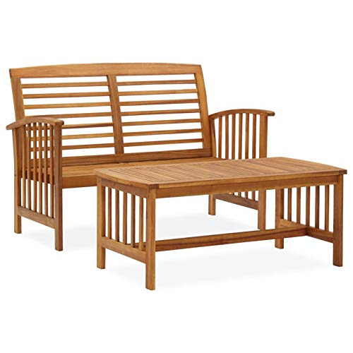 Tidyard Conjuntos de Muebles de jardín Mesas de Comedor de Patio Juego de Muebles de jardín 2 Piezas Madera Maciza de Acacia