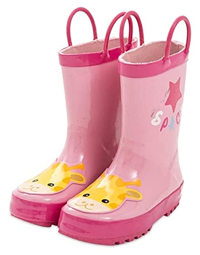 SYZHIWUJIA Regenstiefel Kinder Gummi Regenstiefel Mädchen Wasserdicht Regenstiefel Rosa Wasserpumpe Rutschfeste Sohle Wasserschuhe Kinder Regenstiefel (Farbe: Rosa, Größe: 20cm)