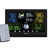 Weather Station Wireless Indoor Outdoor,Weather Forecast Station Thermometer Hygrometer with Sensor,Color Display Digital Weather Stations has Humidity Gauge,Alarm Clocks,Adjustable Backlight