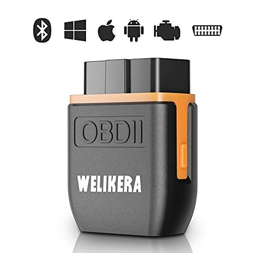 WELIKERA OBD2-Diagnosegerät Bluetooth-Adapter Auto-Diagnose Wireless-Scanner - Car Code Reader OBDⅡ Stecker Gerätescanner für iPhone iOS und Android Smartphone