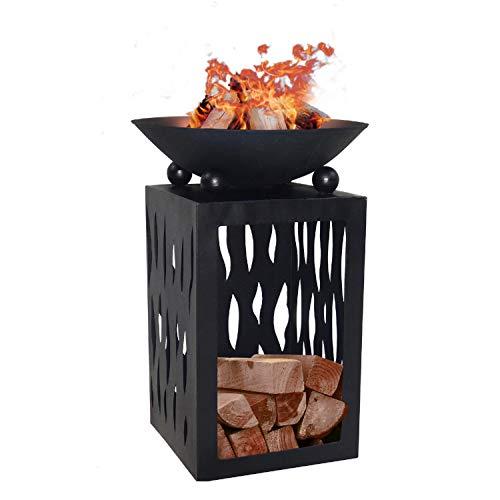 Terrassenofen Feuerschale Feuersäule Feuerkorb Feuerstelle Lagerfeuer Kaminfeuer Metall mit Holzfach Fach für Kaminholz H 68cm