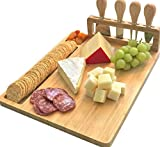 Bamboo Cheese Board Set, Hurricom Charcuterie Platter and Serving Meat Board Including 4 Stainless Steel Knife, Unique Gifts for Christmas Wedding Birthday Anniversary(14x11inch)