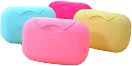 Bagonia Plastic Travel Soap Holder Organiser Box Case, Multicolour - 4 Pieces (Multi Color)