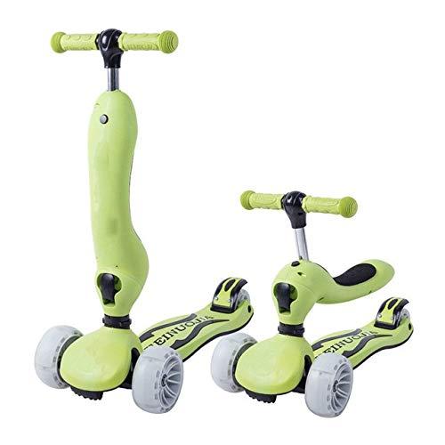 Hopfällbar skoter, 3 hjul Fotskoter Balanscykel/Justerbar höjd Skateboard/Sparkcykel för barn Pojkar Flickor Sport Leksaksgåva (Color : Green)