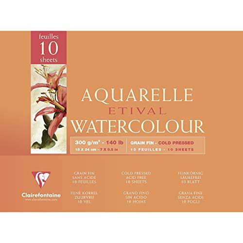 Clairefontaine 96570C Aquarellblock Etival (4-seitig verleimt, 10 Blatt, 300g, für alle Nasstechniken geeignet, feinkörnig, aus 100% Zellulose, 18 x 24 cm) weiß