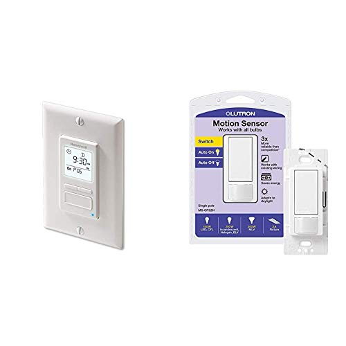 Honeywell Home RPLS740B1008 Econoswitch 7-Day Programmable Light Switch Timer, White & Lutron Maestro Motion Sensor Switch, No Neutral Required, 250 Watts, Single-Pole, MS-OPS2-WH, White