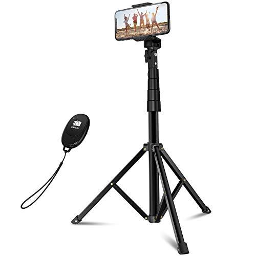 Mpow Handy Stativ 145 cm Bluetooth Selfie Stick Stativ mit ausziehbarem Fernbedienung, Kamera Stativ für iPhone 11/iPhone SE/Galaxy S20, Ringlicht Kamera mit 1/4''Schraubenloch, Max. Belastung 6 kg