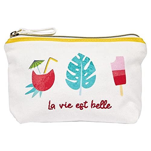 Draeger Paris – Bolsa de algodón Estampada Colorida – Organizador de Bolso/Bolsa de Belleza – La Vie EST Belle (en francés) - 21 x 12 cm