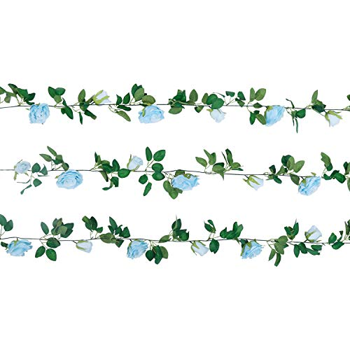 U'Artlines Artificial Rose Vine Silk Flower Garland Hanging Baskets Plants for Indoor Outdoor Home Wedding Arch Garden Wall Decor (3pcs, Blue)