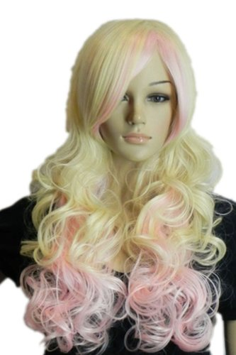 Qiyun Longue Pink Blond Layered Mixte Boucle Ondule Ramp Frange Complete Cheveux Cosplay Anime Costume Perruque