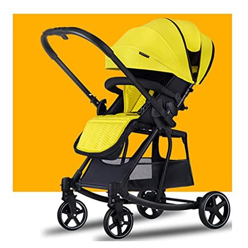 sillas de Paseo Cochecito de Empuje de Dos vías, Puede Sentarse y acostarse Ligero y Plegar un botón retráctiles retrollables de Dos vías Push Cradle Coche Infantil (Color : Cool Yellow)