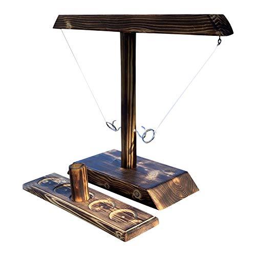 Giochi da tavolo per adulti e bambini, giochi da tavolo interattivi in legno fatti a mano, con gancio e anello in legno, regalo per amici e familiari (B)