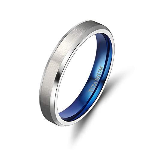 TICENTRAL チタン メンズ レディース 婚約 結婚リング ペア指輪ピンキーリング 細身 4mm シンプル (ブルー,13)
