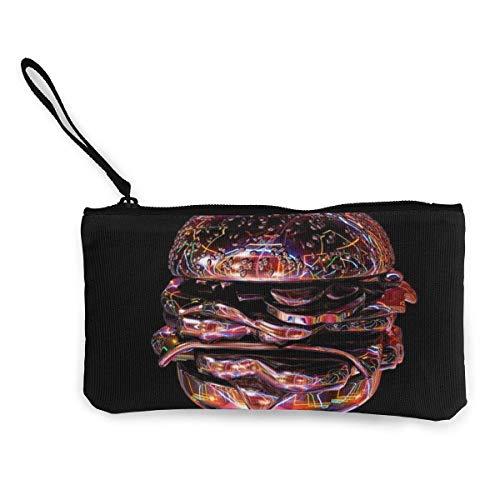 Trista Bauer Burger Men 'SY Women' s Cute Fashion Personalidad Canvas Monedero con Cremallera Bolsa de Maquillaje con Correa para la muñeca Cash Callphone Bag 8.5 X 4.5 Pulgadas