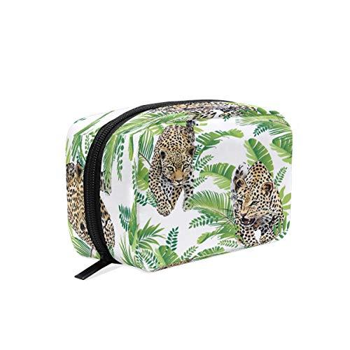 Bolsa maquillaje BKEOY diseño hojas leopardo, acuarela
