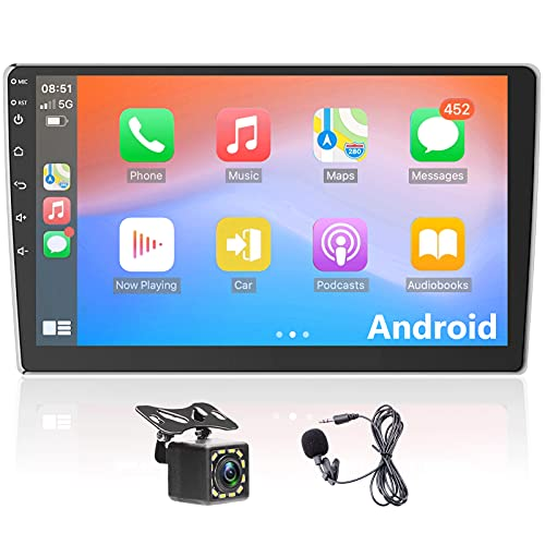 Android Autoradio Radio de Coche 2 DIN Conexión Android Auto y CarPlay 7/10.1 Pulgadas con Pantalla Táctil con Mirrorlink WiFi Navi GPS Bluetooth + Cámara de Marcha Atrás de 12 LED (10.1)
