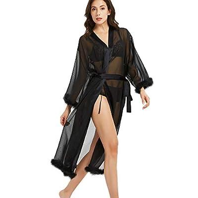 Women's Satin Pure Colour Kimono Silky Bathrobe Bridesmaid Robe with Self Tie