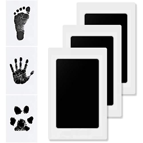 Hipeqia Impresión manos huellas bebé, huellas mascotas kit almohadilla de tinta Clean Touch, la piel no toca color, sello sin tinta no tóxico, bebés recuerdo o recién nacidos ducha regalo, Negro 3Pack
