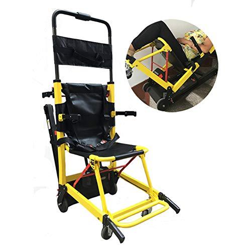 WHYIT Rollstuhl Faltbar Elektro-Kletter-Rollstuhl-Raupenketten Treppensteiger hoch und runterklappen Behinderte Auf und Ab Treppe, Transport Vierrädriges Reisen Eigengewicht 30kg, Tragfähigkeit 160kg