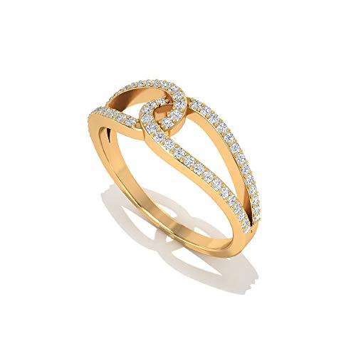 Anillo de diamante con certificado IGI de 0,24 quilates, para mujer, anillo de novia, anillo de aniversario, compromiso minimalista a juego para siempre, 18K Oro rosa, Size:EU 45
