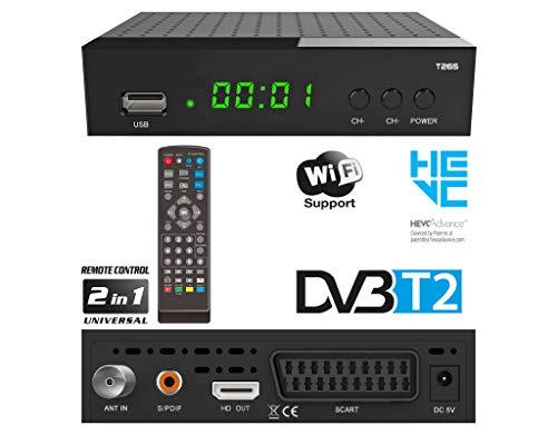 DVBT2 Ricevitore Full HD 1080P per TV WIFI ( HEVC H.265 HDMI SCART, USB 2.0 , DVBT-2 , DVB-T2 , DVB T2 , DVBT 2 ), Reciver , Resiver, Ricevitore, Nero