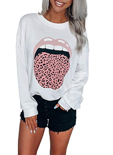 LOSRLY Womens Lip Print Front Temperament Pullover Tops White