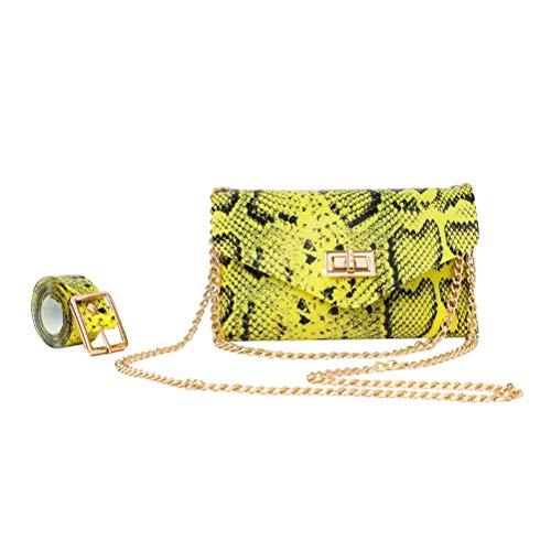 TENDYCOCO Mode Tasche vielseitig fluoreszierende Schlangenmuster PVC abnehmbarer Gürtel Handytasche Dame Gürteltasche Umhängetasche (fluoreszierend gelb)