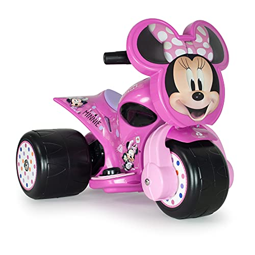 INJUSA - Elektro-Motorrad Samurai Minnie Mouse 6V Pink mit 3 Rädern Gaspedal und Permanenter Dekoration Empfohlen für Kinder +1 Jahr