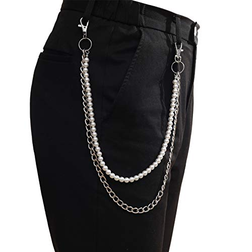 Fashion Pants women men punk chain retro pants keychain chain pants jeans hipster hip-hop jewelry accessory for Jeans Pants (Color : Purple)
