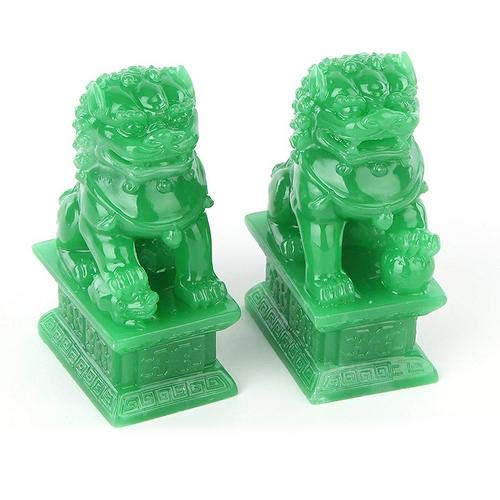 Wealth Porsperity Pair of Fu Foo Dogs Guardian Lion Statues Traditional Chinese Guardian Lion Statues Stone Finish Feng Shui Decor for Indoor Outdoor Placement