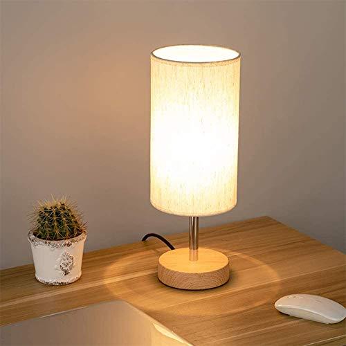Lámpara de Mesa Vintage Lámpara de Mesa de Tela Doble USB Recargable Tres Tipos de Brillo Ajustable para Dormitorio Sala de Estar Cafetería Habitación de Bebé