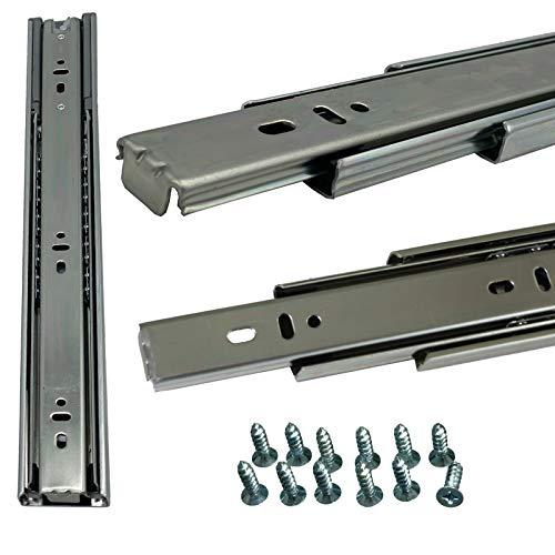 BRESKO 1 Paar (2 Stk.) Schubladenschienen 30 - 70 cm Vollauszug mit und ohne SoftClose Selbsteinzug Kugelführung (30cm ohne SoftClose)