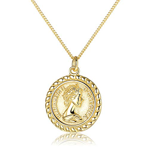 Milacolato Coin Necklace Sterling Silver 18K Gold Plated Vintage Textured Circle Disc Charm Medallion Necklace Dainty Carved Gold Coin Pendant Gold Necklace for Women