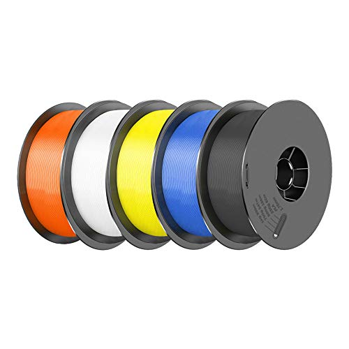 [ 5/Pack ] PLA Filament 1.75mm 3D Printer Consumables Filamento Impresora 3D, Dimensional Accuracy +/- 0.03 mm, 1kg/pcs(White, Black, Orange, Yellow, Blue)