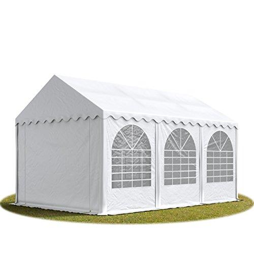 TOOLPORT Festzelt 4x6 m Partyzelt Eventzelt XXL 2,6m hoch weiß ca. 550g/m² Pavillon PVC 100% wasserdicht