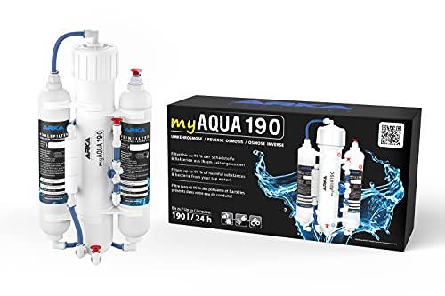ARKA Aquatics myAqua190 - Umkehrosmoseanlage für bis zu 190 L/Tag, filtert bis zu 99% der Schadstoffe, Salze & Bakterien aus dem Wasser, ideal für jedes Meerwasser- & Süßwasseraquarium,