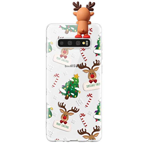 ZhuoFan Funda para Samsung Galaxy A70 2019 6.7,3D Silicona Caso Carcasa de telefono Suave TPU Ciervo estatuilla de Navidad Protectora Bumper Case Cover Cárcasa Movil Fundas SamsungA70,Ciervo