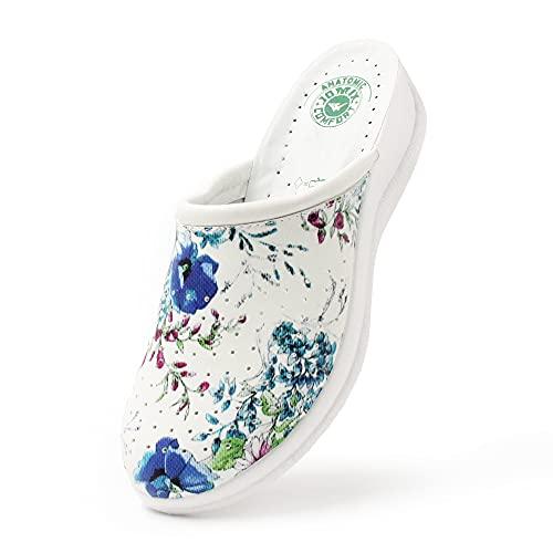 JOMIX Ciabatte Donna Anatomiche Comode per Lavoro Casa Zoccoli Sabot Pantofole Scarpe ITD1490 (07 Fiori Blu, 38)