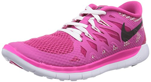 Nike Free 5.0, Running Entrainement Fille - Rose (Hot Pink/Black-White), 36 EU