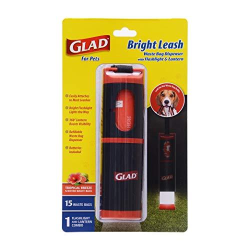 Glad for Pets Bright Leash Waste Bag Dispenser with Flashlight Dog Waste Bag Dispenser Includes 15 Dog Waste Bags with Safety Lights for Walkers Refillable Pet Waste Bag Dispenser for Dog Walking