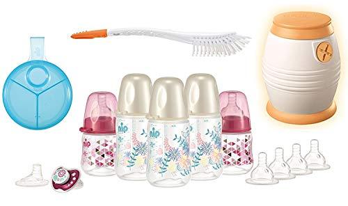 nip Starterset - Alles für den Anfang - Flaschenset, Cool Twister, Milchpulverspender, Bürste 2in1 plus Überraschungsgeschenk für Mädchen